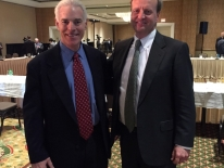 Bob Davies presents at the annual kickoff for Butler America with owner Steve Sorensen.