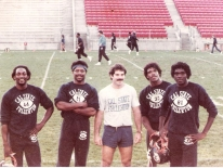 1979-83 Outside Linebackers, strength and conditioning coach for Cal State Fullerton